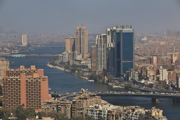 カイロ中心部の眺め Premium写真