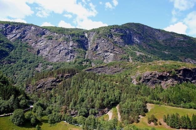 Горы и долины вдоль фламсбана, фламская железная дорога, норвегия Premium Фотографии