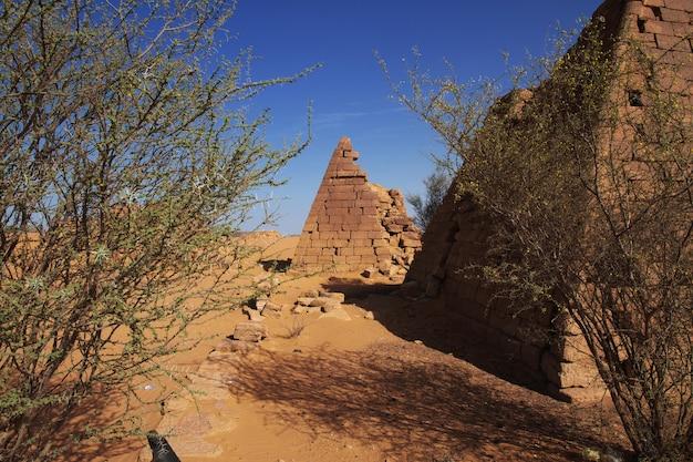 スーダン、サハラ砂漠のメロエの古代のピラミッド Premium写真