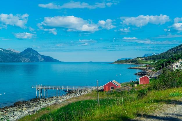 Скалы согне-фьорда, третьего по длине фьорда в мире и крупнейшего в норвегии. Premium Фотографии