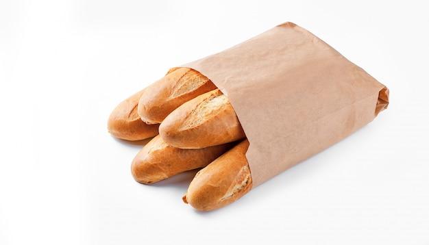 Багетный хлеб в бумажном пакете Premium Фотографии