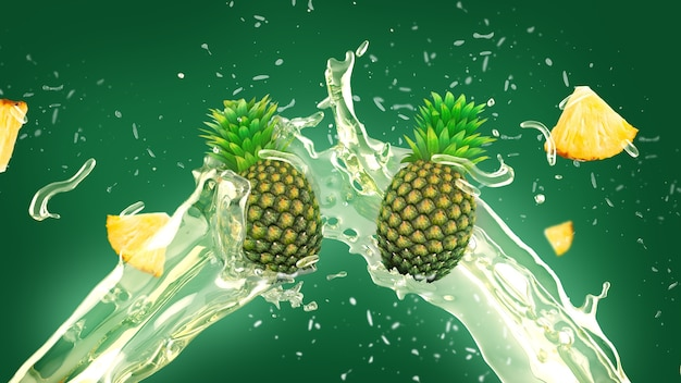 パイナップルジューススプラッシュの背景 無料写真