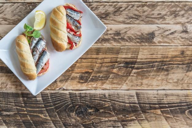 イワシのサンドイッチ Premium写真