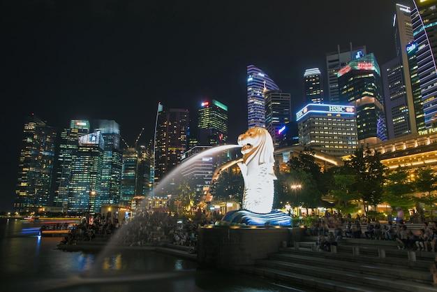 Сингапурский городской пейзаж на ночь Premium Фотографии