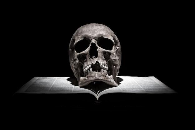 光のビームの下で黒い背景に古い開かれた本の人間の頭蓋骨 Premium写真