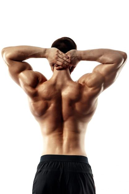 Задний взгляд торса привлекательного построителя мужского тела на белой предпосылке. Premium Фотографии