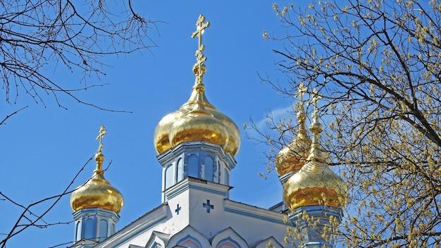 青い空を背景に教会の黄金のドーム Premium写真