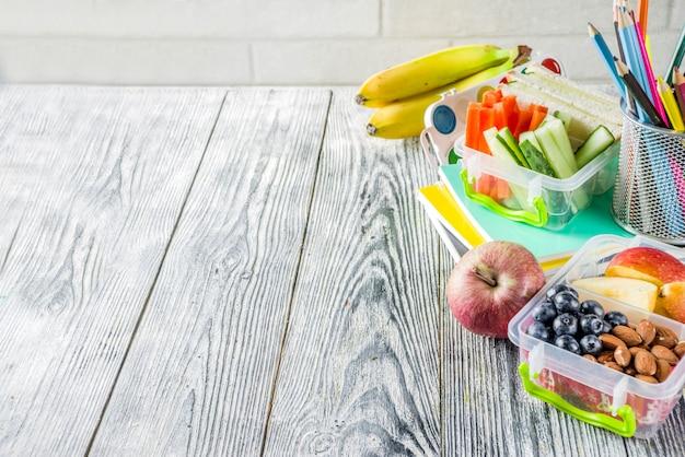 健康な学校給食ボックス Premium写真