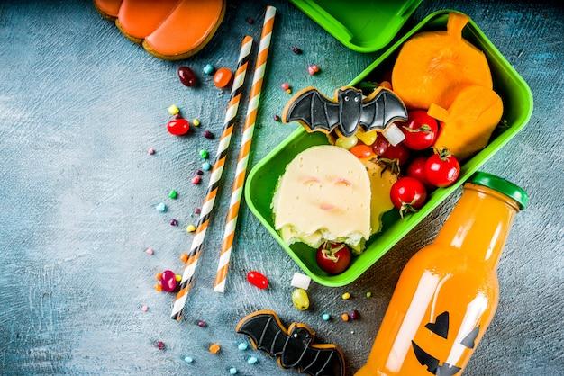 Еда хэллоуина, коробка школьного обеда Premium Фотографии