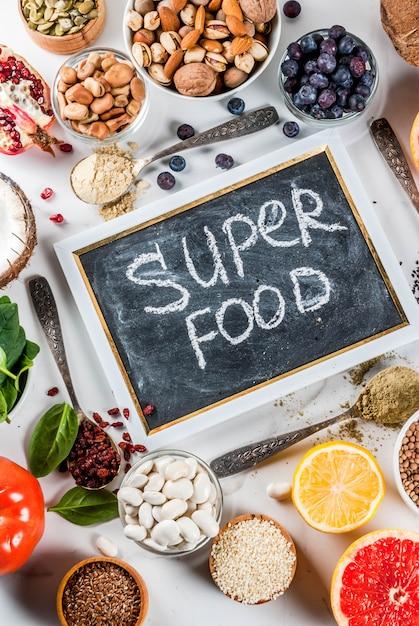 Набор органических продуктов здорового питания, суперпродуктов Premium Фотографии