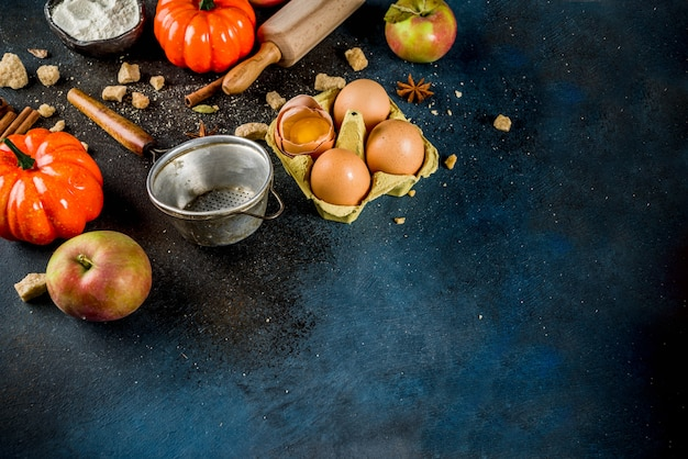食材と調理器具で甘い秋のベーキングシーン Premium写真