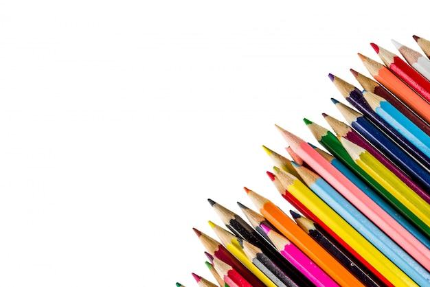白い背景に分離された学校概念色鉛筆に戻る Premium写真