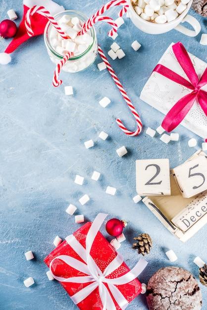 伝統的な食べ物のクリスマスシーン Premium写真