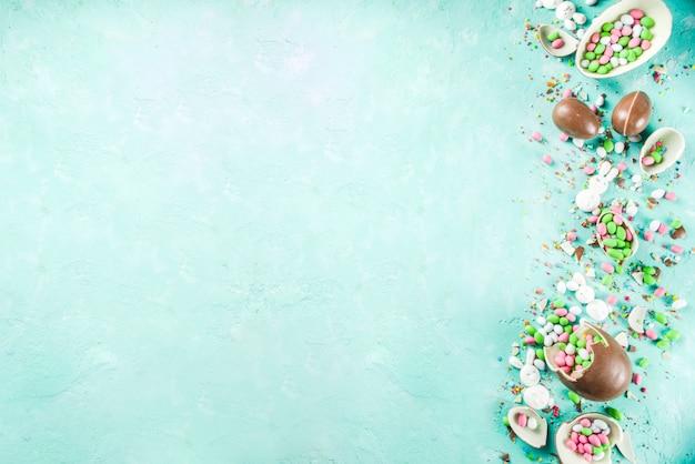 イースターのお菓子の背景 Premium写真