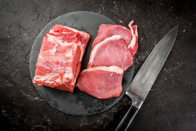 新鮮な生の豚肉、胸肉、フィレ Premium写真