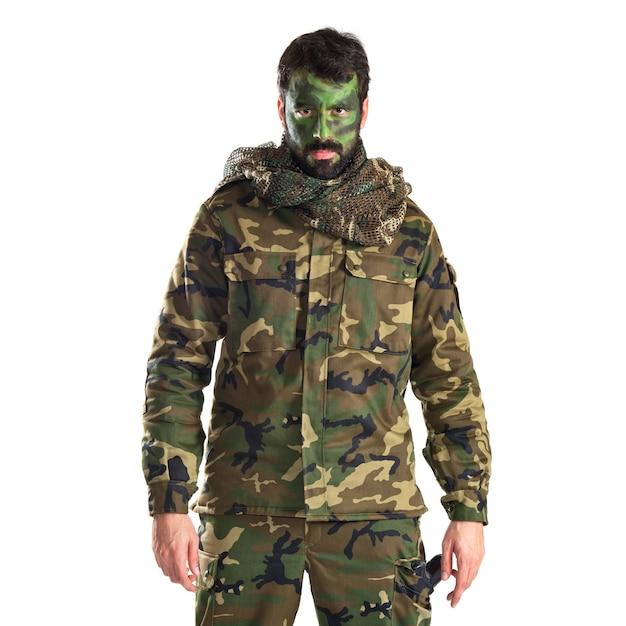 Солдат с нарисованным лицом Бесплатные Фотографии
