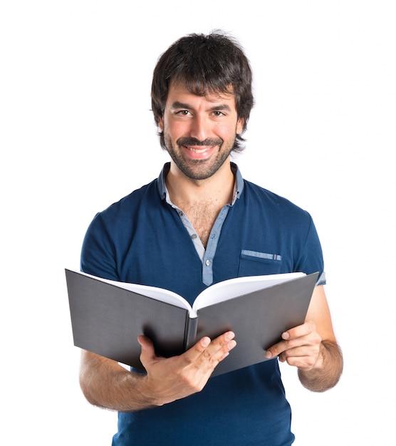Человек, читающий книгу на белом фоне Бесплатные Фотографии