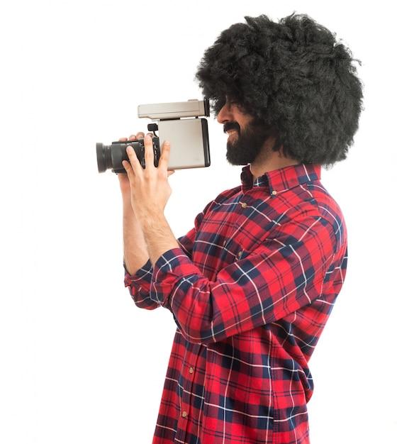 アフロ男の撮影 無料写真