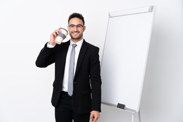 ホワイトボードにプレゼンテーションの実業家 Premium写真