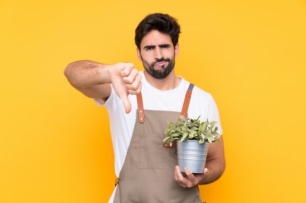 サインダウン親指を示す分離の黄色の壁の上のひげを持つ庭師男 Premium写真