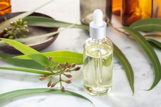 Эвкалиптовое эфирное масло. эвкалиптовое масло для ухода за кожей, ароматерапия, спа, фитотерапия Premium Фотографии