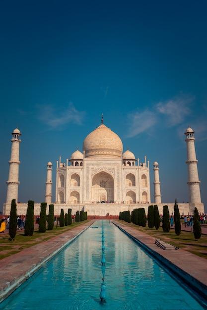 インド、アグラのタージマハル記念碑。 Premium写真