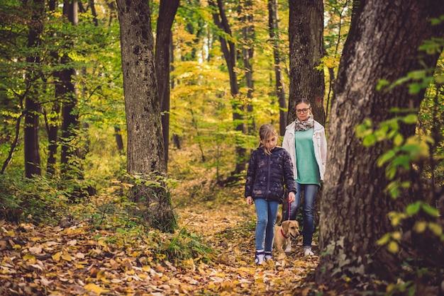 母と娘の森でのハイキング Premium写真