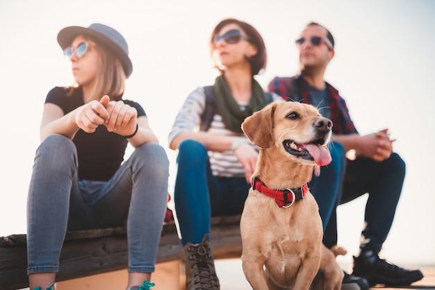 Собака и семья сидят на деревянной палубе Premium Фотографии