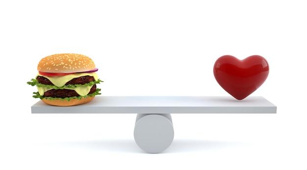 分離されたスケールのハンバーガーと赤いハート。 Premium写真