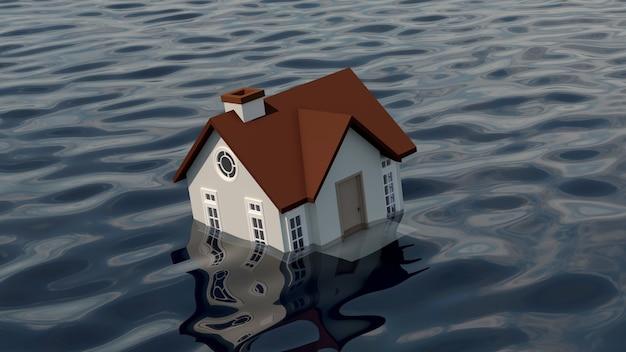 水に沈む家。 Premium写真