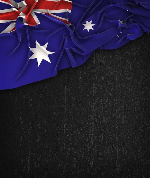 オーストラリアの旗ヴィンテージグランジの上にテキストのためのスペースと黒の黒板 Premium写真