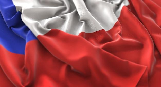 チリの旗が美しく波打ち際に浮上マクロ接写 無料写真