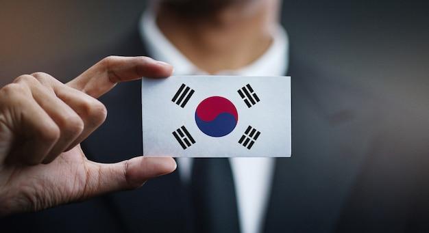韓国の旗の実業家保有カード Premium写真