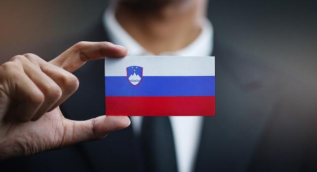 スロベニアの国旗の実業家保有カード Premium写真