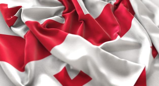 ジョージア旗が美しく揺れるマクロ接写 無料写真
