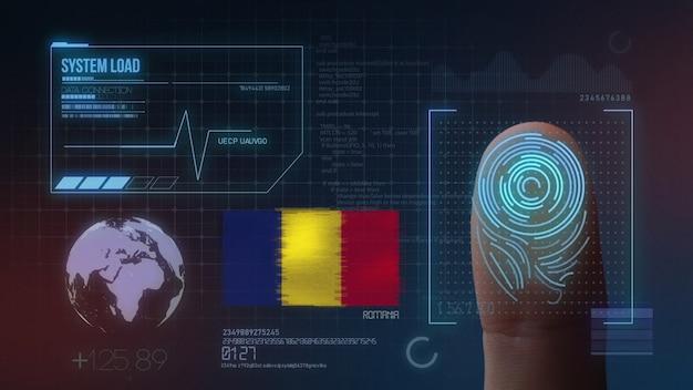 指紋バイオメトリック走査識別システムルーマニア国籍 Premium写真