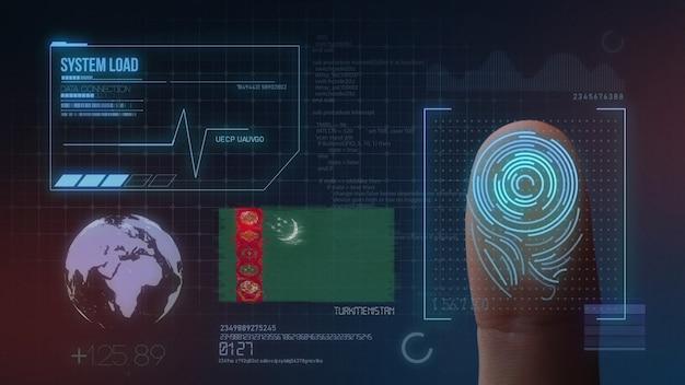 指紋バイオメトリック走査識別システムトルクメニスタン国籍 Premium写真