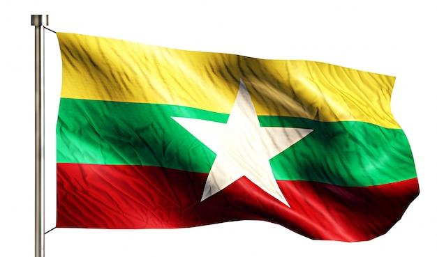 Национальный флаг мьянмы, изолированных на белом фоне Бесплатные Фотографии