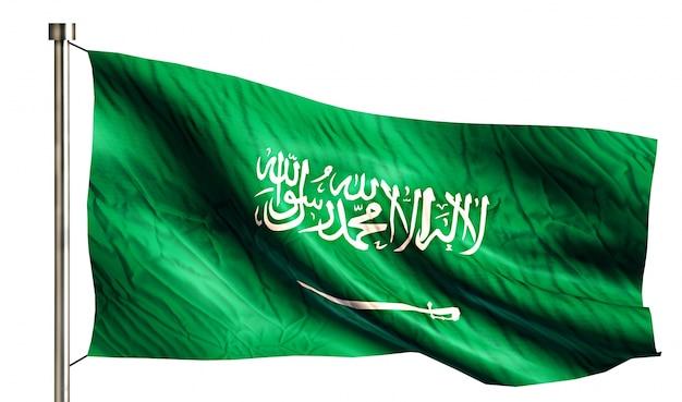 Национальный флаг саудовской аравии, изолированных на белом фоне Бесплатные Фотографии