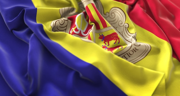 Флаг андорры украл красиво махающий макрос крупным планом Бесплатные Фотографии