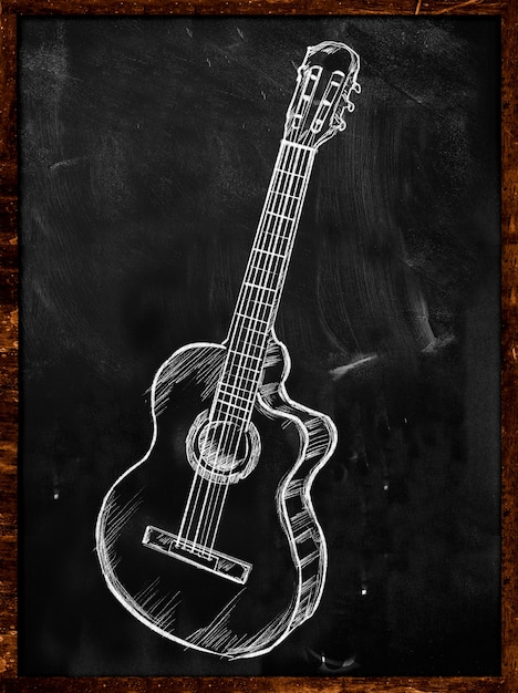 ギタークラシック音楽、黒板の音楽 無料写真