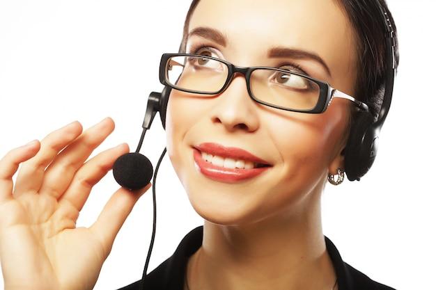 笑顔の顧客サポートの肖像女性電話ワーカー Premium写真