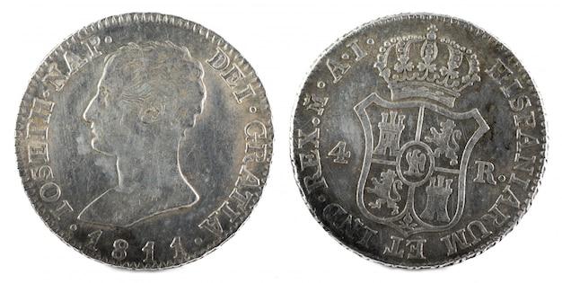 ホセナポレオン王の古代スペインの銀貨。 Premium写真