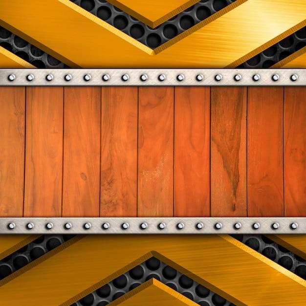 テンプレートの木の模様の背景と光沢のある金属 Premium写真