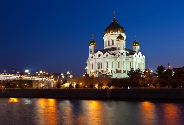 夜のキリスト救い主大聖堂、ロシア 無料写真