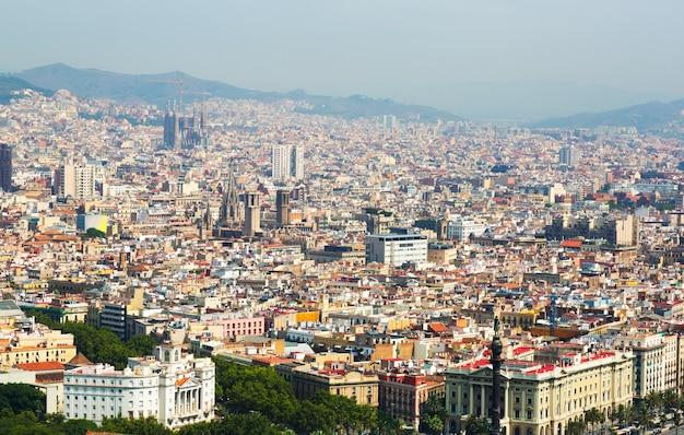 バルセロナの旧市街の航空写真 無料写真