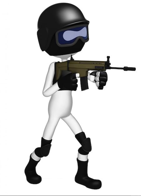 Спецназ полицейский с автоматом Premium Фотографии