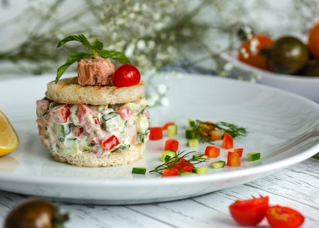 マヨネーズ風味のトマトとキュウリのツナサラダ 無料写真