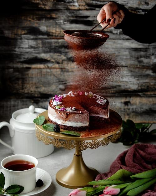 Женское сито с кофейной пудрой на какао-торт с ванилью и кофейным кремом Бесплатные Фотографии