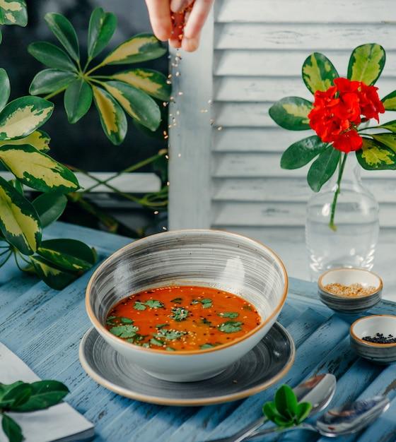 テーブルの上のトマトのスープ 無料写真